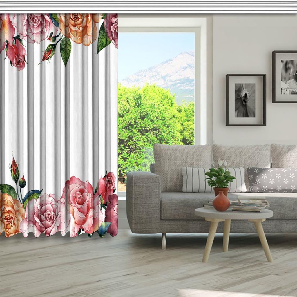 baskılı fon perde kır çiçeği gül desenli mor pembe
