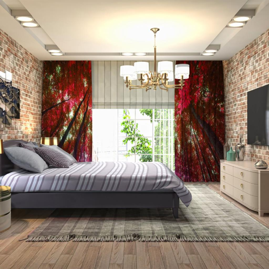baskılı fon perde kırmızı ağaç etkili yaprak ve ışık desenli