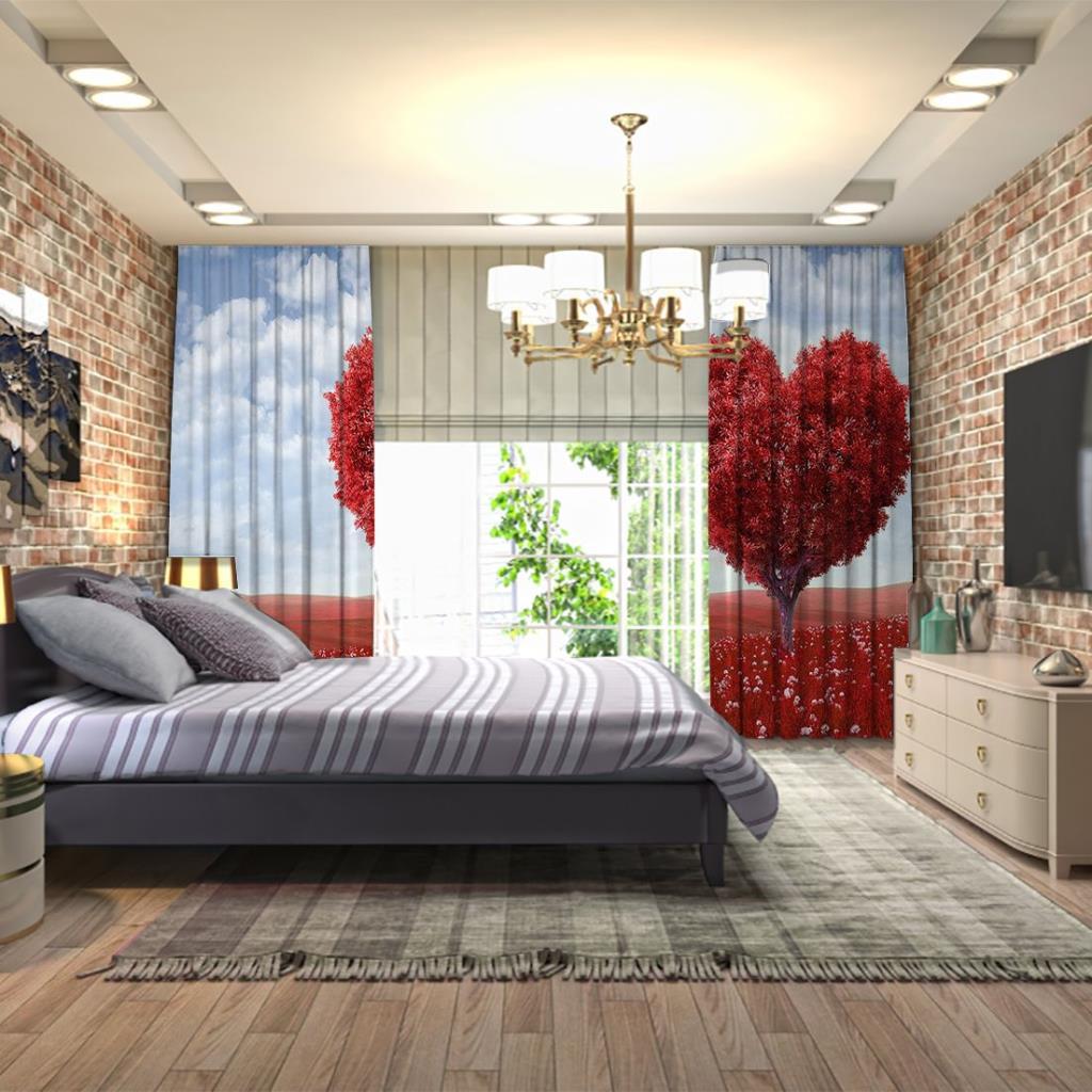 baskılı fon perde kırmızı aşk temalı kalpli ağaç desenli