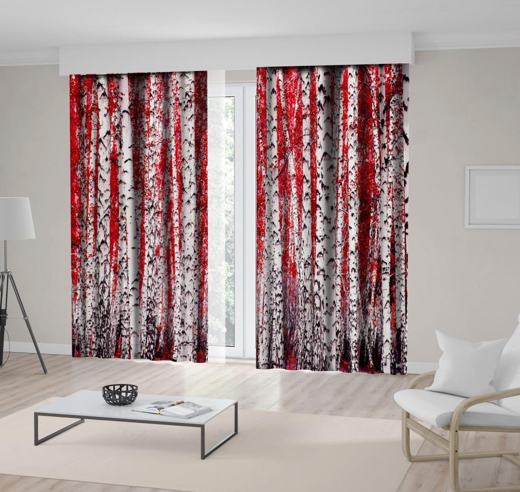 baskılı fon perde kırmızı huş ağacı ormanı desenli