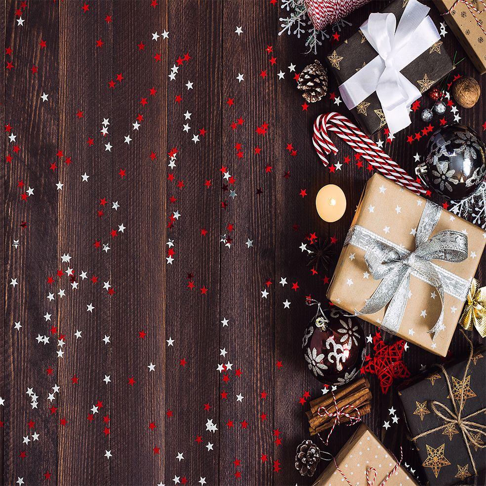 baskılı fon perde kırmızı noel yılbaşı süsleri hediyeler simli yıldız