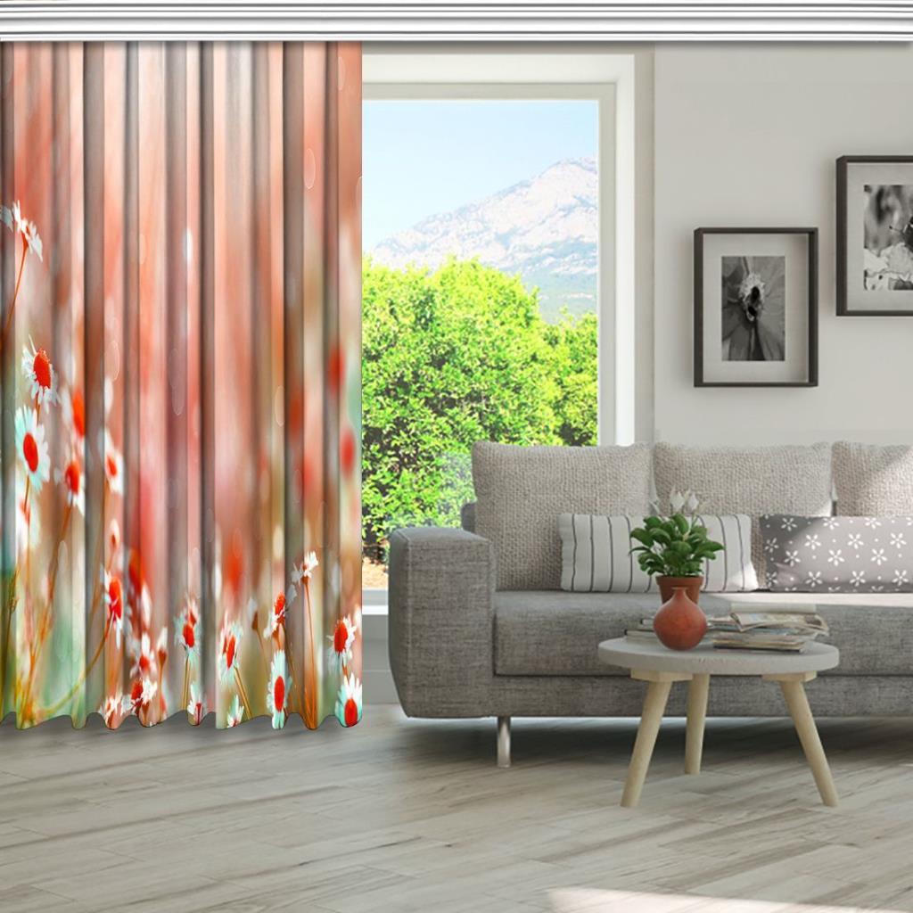 baskılı fon perde kırmızı papatya etkili güneş ışık desenli