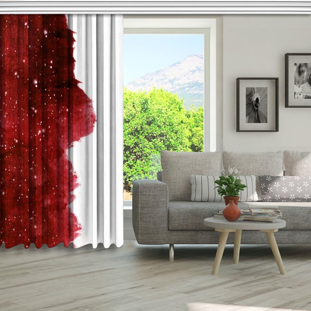 baskılı fon perde kırmızı renk ve ışıltı etkili beyaz arka plan desenli