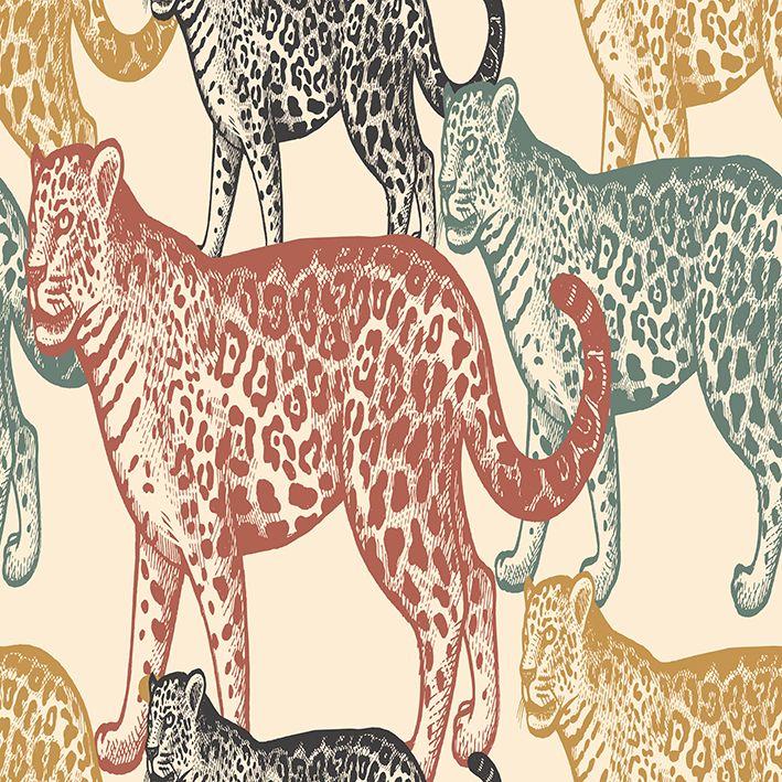 baskılı fon perde kırmızı sarı siyah renkli jaguar desenli