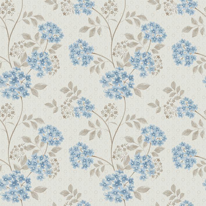 baskılı fon perde klasik tarzda mavi çiçek desenli