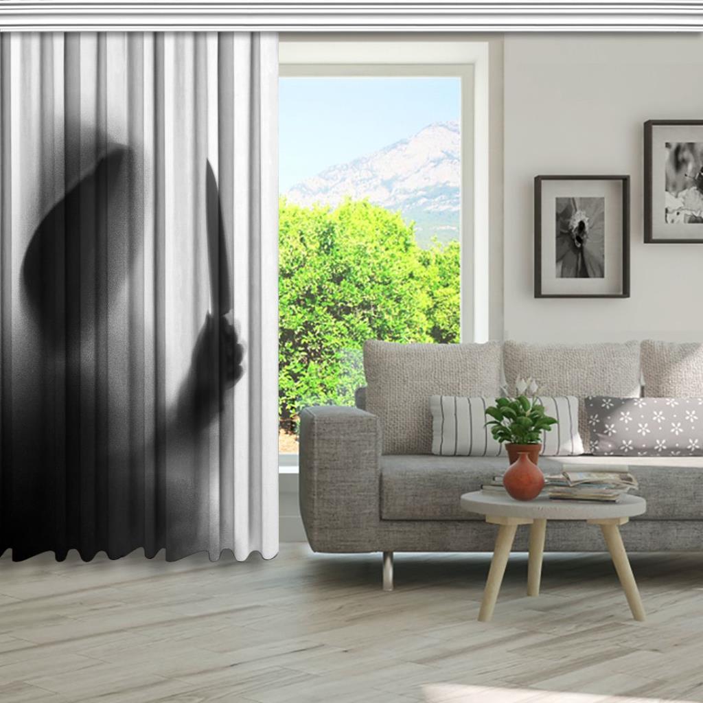 baskılı fon perde korkunç adam bıçak gölge desenli gri siyah