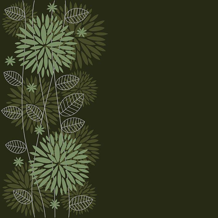 baskılı fon perde koyu yeşil renkli arka planlı desenli