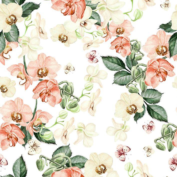 baskılı fon perde krem renklerle çıtır çiçekler desenli