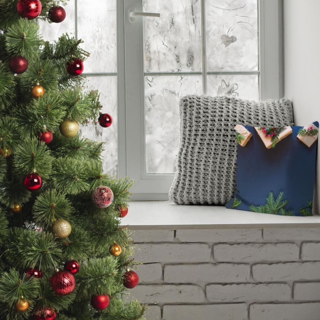 baskılı kırlent kılıfı laci mavi noel çam dalları ökse otlu hediye paketli