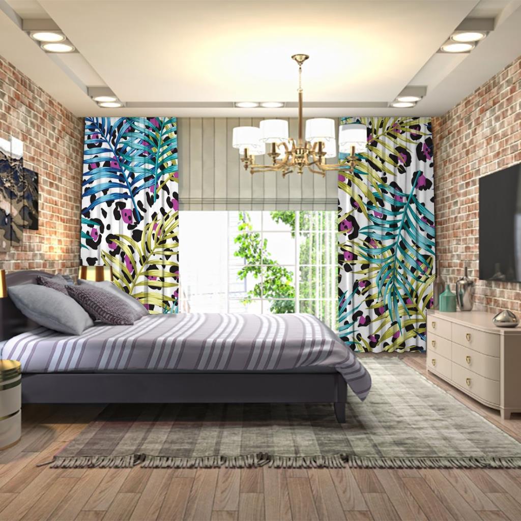 baskılı fon perde leopar etkili renkli palmiye yaprak desenli