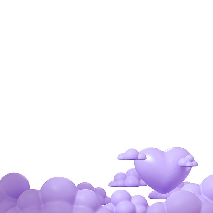 baskılı fon perde lila bulutlardan çıkan büyük kalp desenli