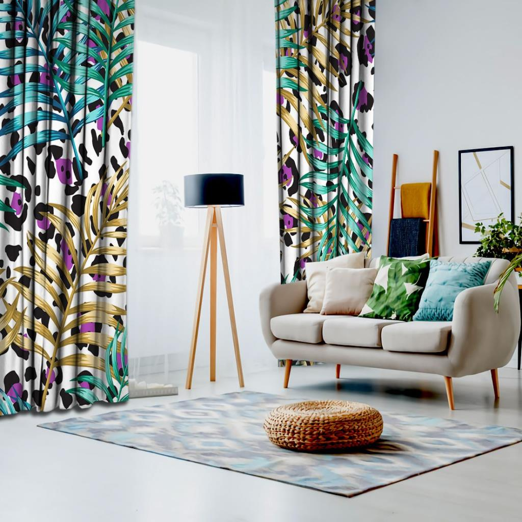 baskılı fon perde lila leopar zemin üzerine tropik yapraklar desenli