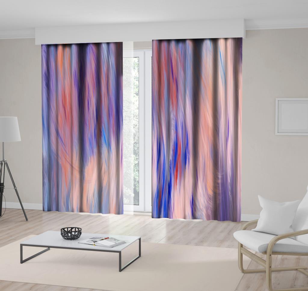baskılı fon perde lila oranj saks fırça efektli suluboya desenli