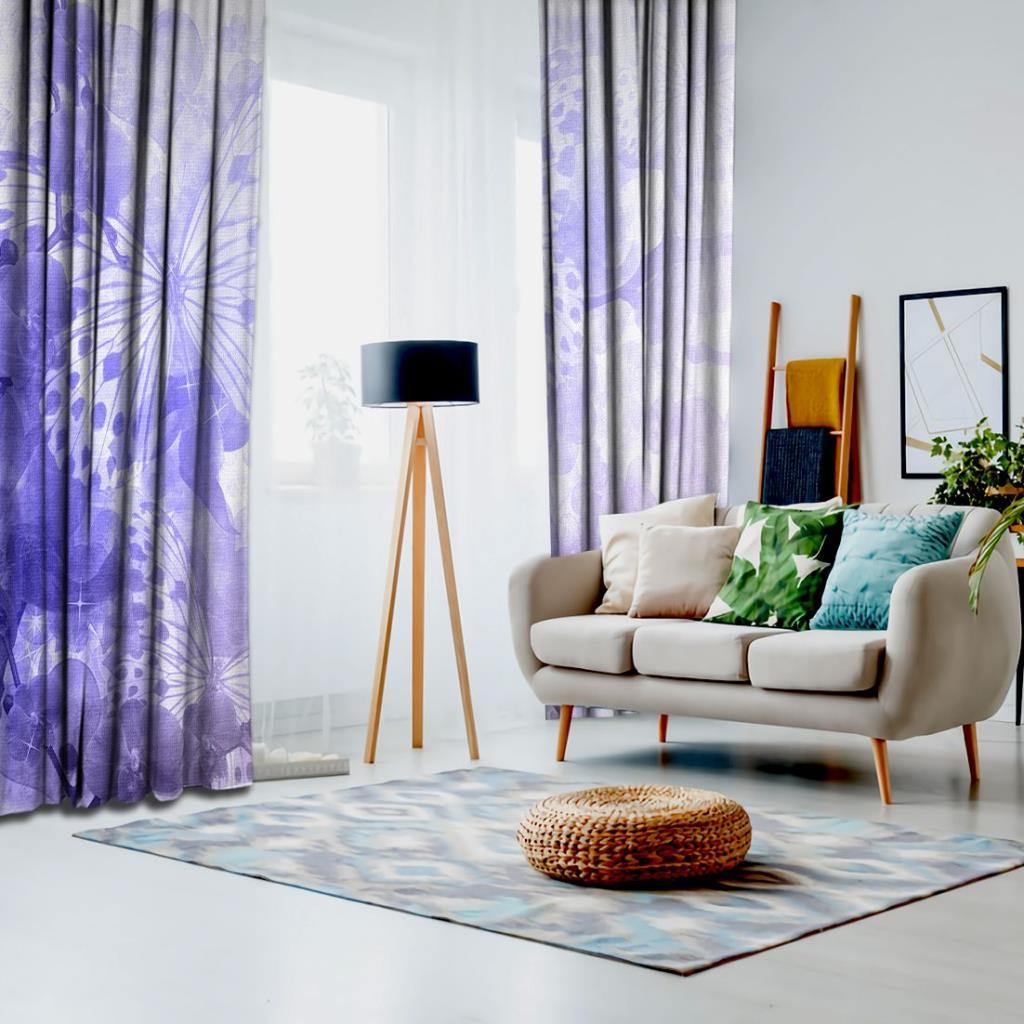 baskılı fon perde lila orkideler üzerine yumuşak odaklı kelebek desenli