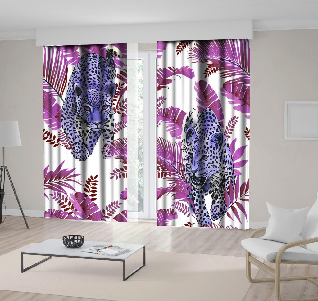 baskılı fon perde lila palmiye yaprak üzerine mor leopar desenli