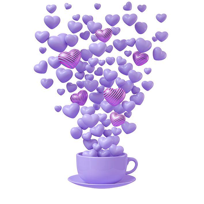 baskılı fon perde lila renklerle kahve fincanından havalanan kalpler desenli