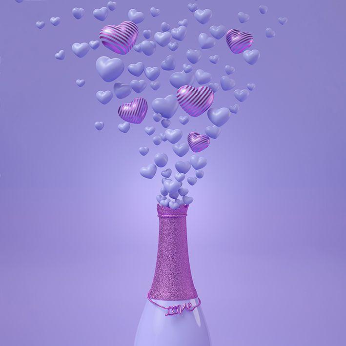 baskılı fon perde lila renklerle şişeden dağılan dağınık kalpler desenli