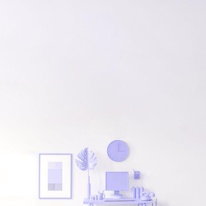 baskılı fon perde lila renkli saat yaprak ve çalışma masa desenli