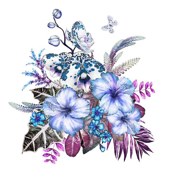 baskılı fon perde lila ve morlu çiçekli yapraklar desenli