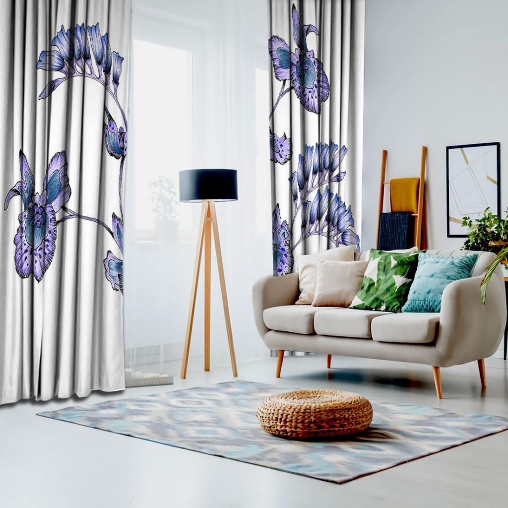 baskılı fon perde lila ve morlu uzun yapraklar desenli