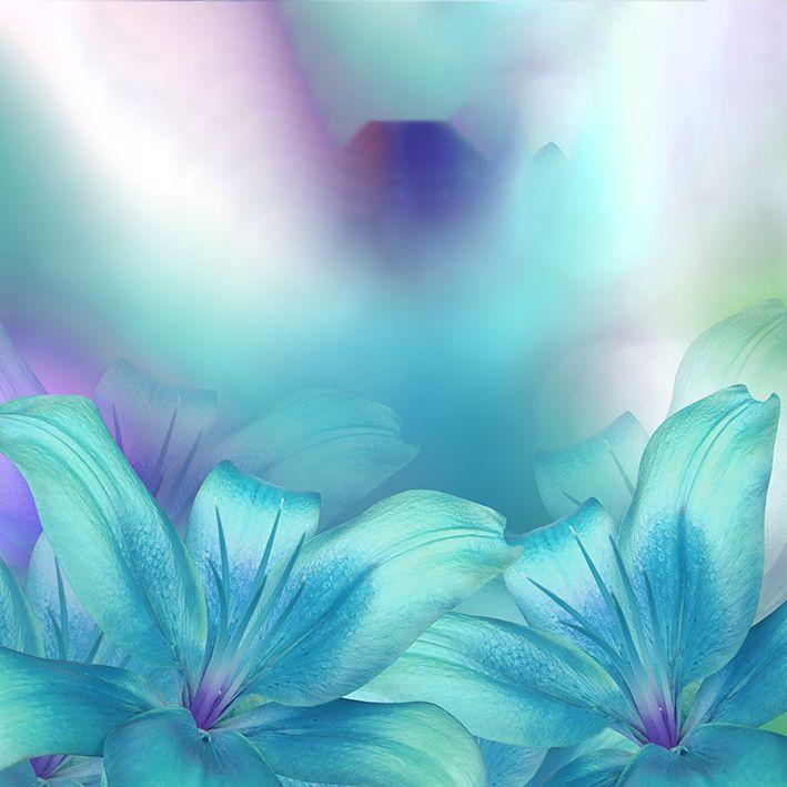 baskılı fon perde lilyum çiçeği mavi mor arka plan desenli