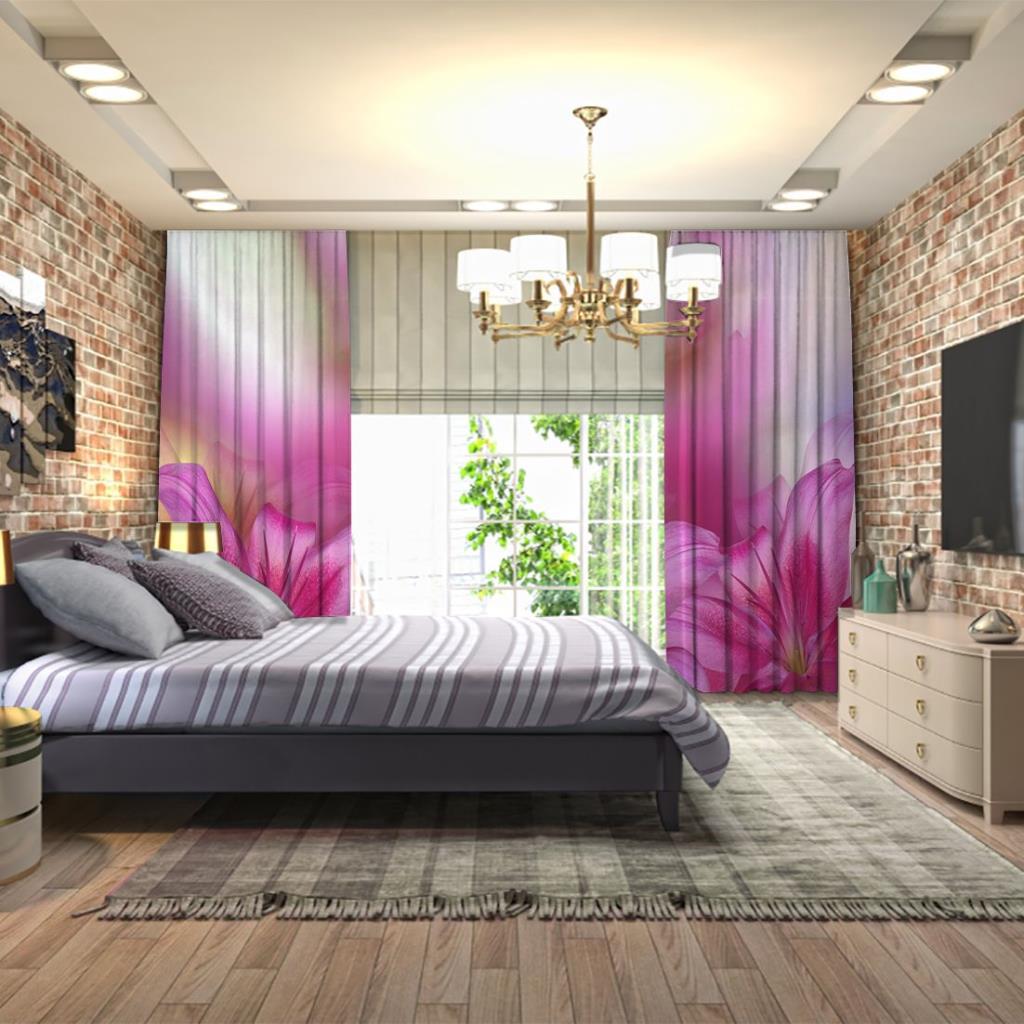 baskılı fon perde lilyum çiçeği pembe mor arka plan desenli