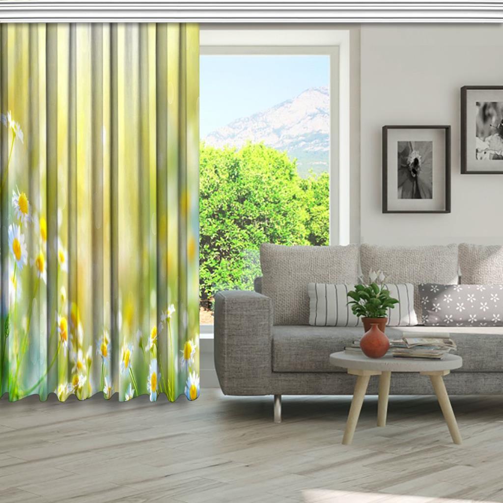 baskılı fon perde manzara etkili güneş ışınlı papatya desenli