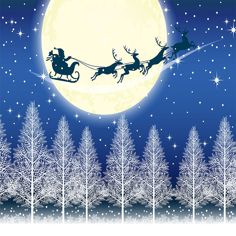 baskılı fon perde mavi ay ışığında ağaçlar ile uçan kızaklı noel baba