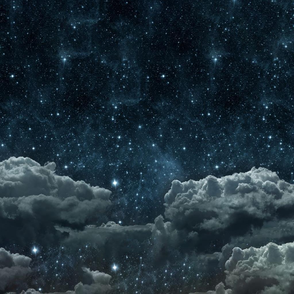 baskılı fon perde mavi bulut gece gökyüzü desenli