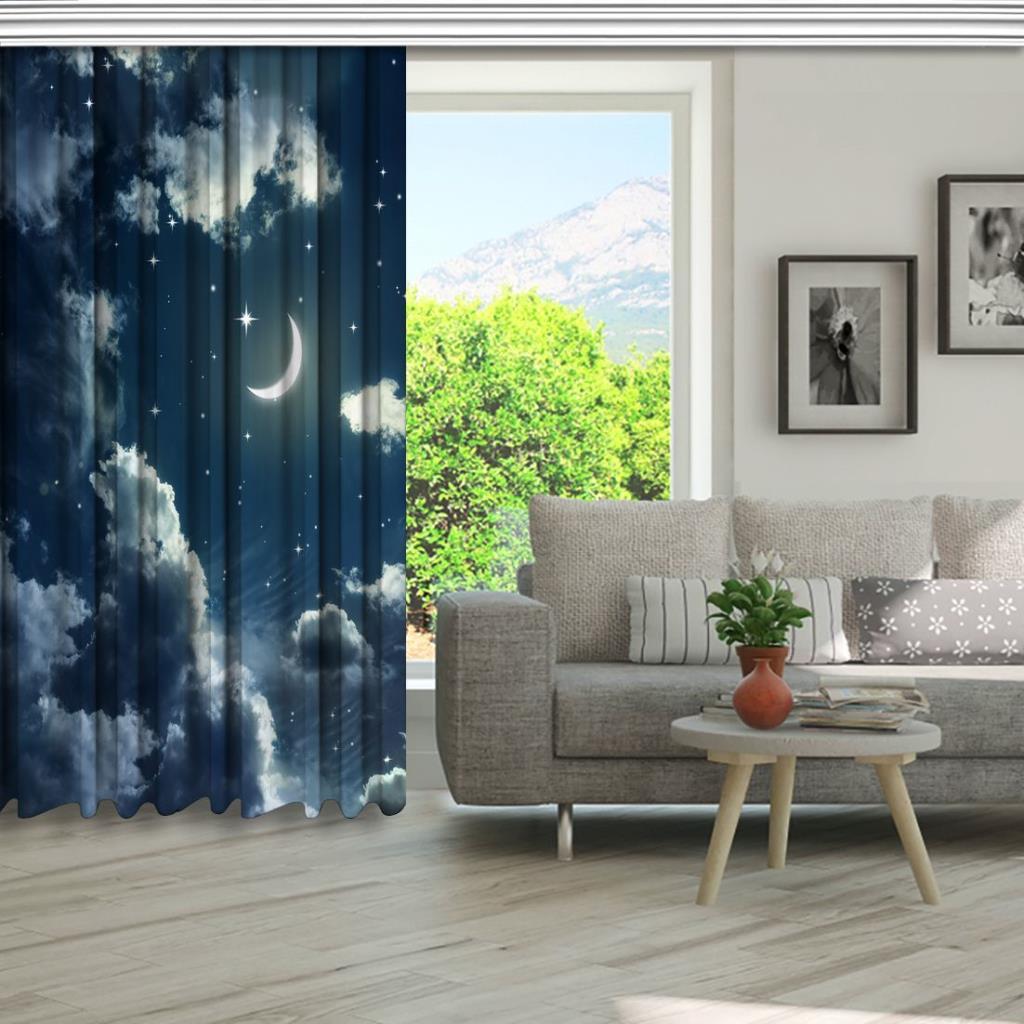 baskılı fon perde mavi bulut gece ışıltılı ay gökyüzü desenli