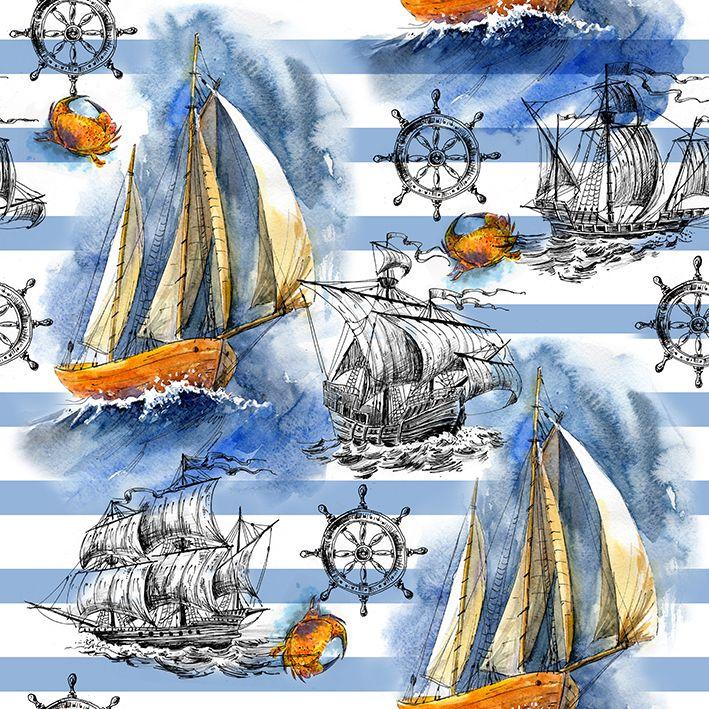 baskılı fon perde mavi çizgiler gemi deniz yaz desenli