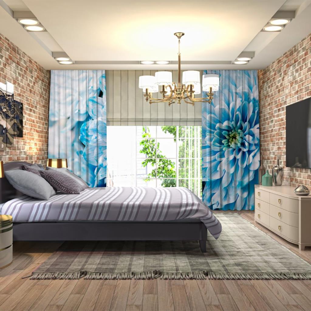 baskılı fon perde mavi kasımpatı çiçekli desenli