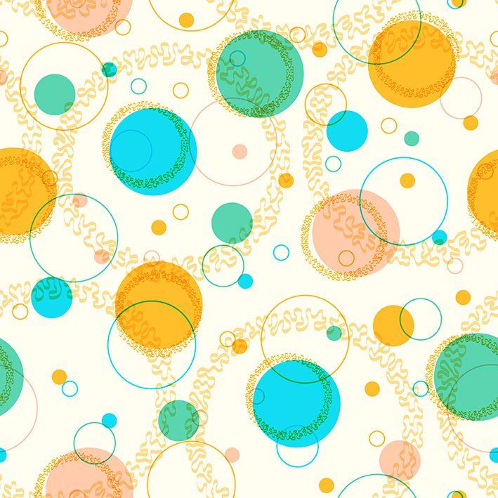 baskılı fon perde mavi sarı yeşil çember desenli