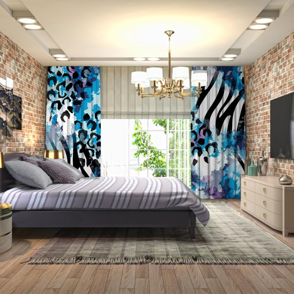 baskılı fon perde mavi suluboya etkili leopar zebra desenli