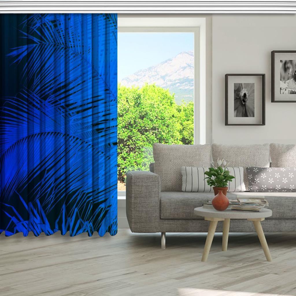 baskılı fon perde mavi ton etkili tüy desenli
