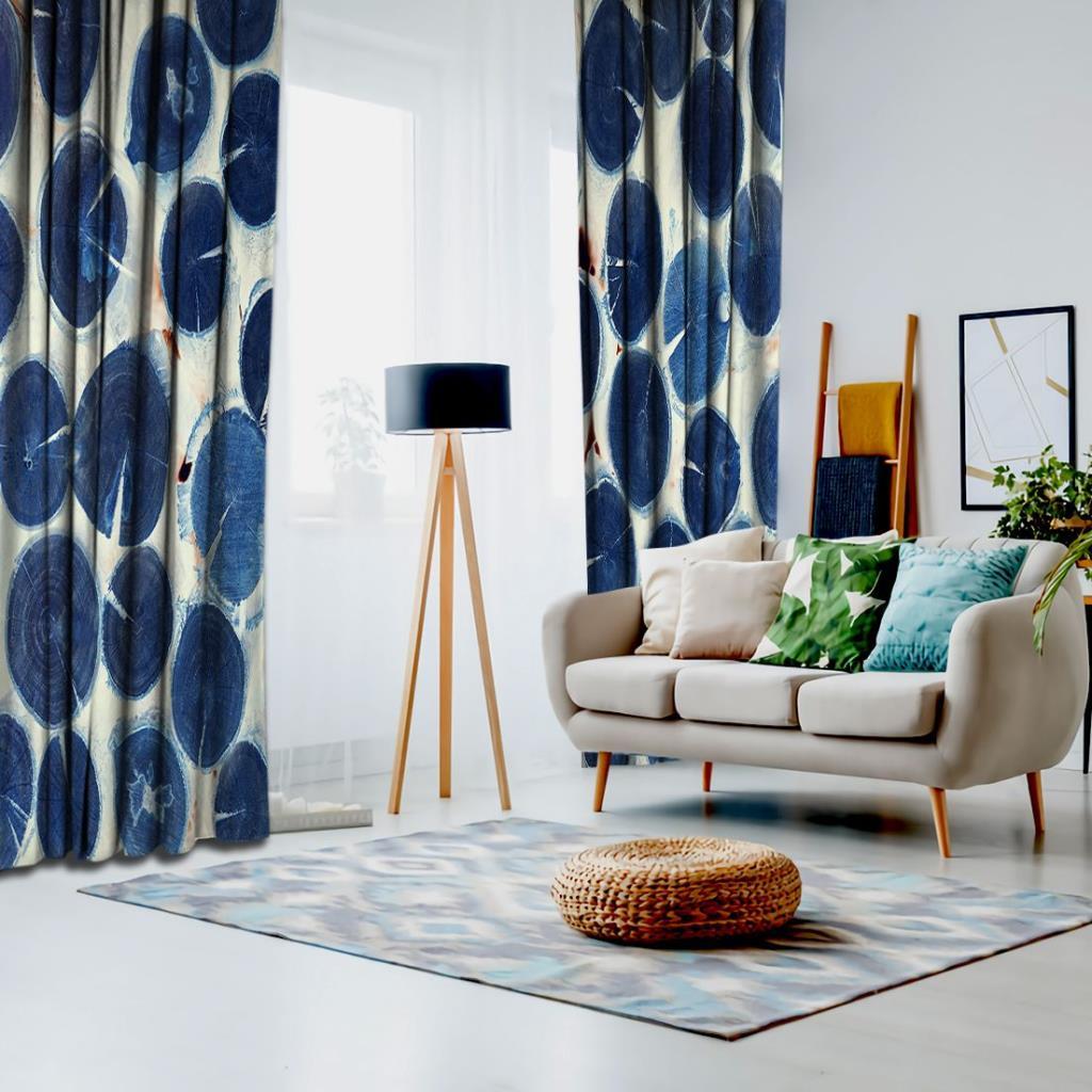 baskılı fon perde mavi üst üste dizilmiş ağaç kütük desenli