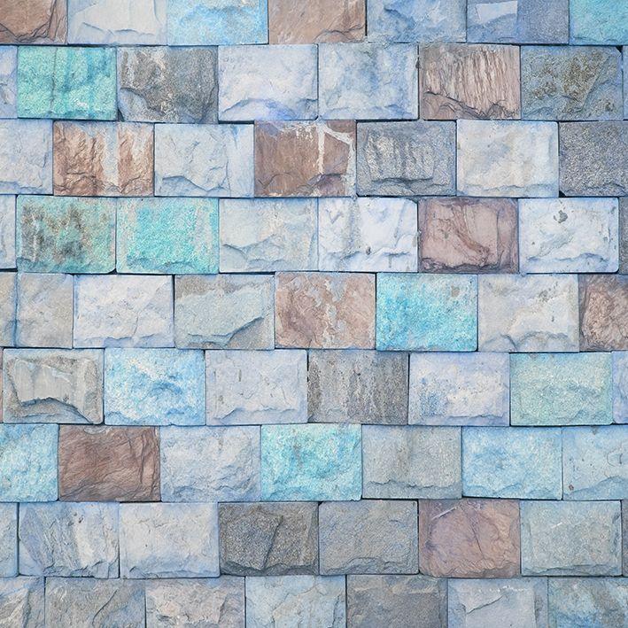 baskılı fon perde mavi ve kahverengi etkili taş desenli