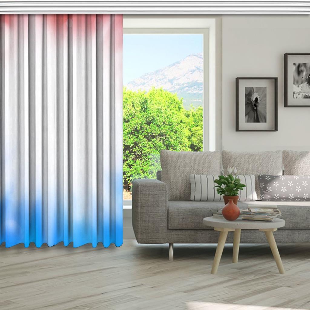 baskılı fon perde mavi ve kırmızı etkili beyaz ışık desenli