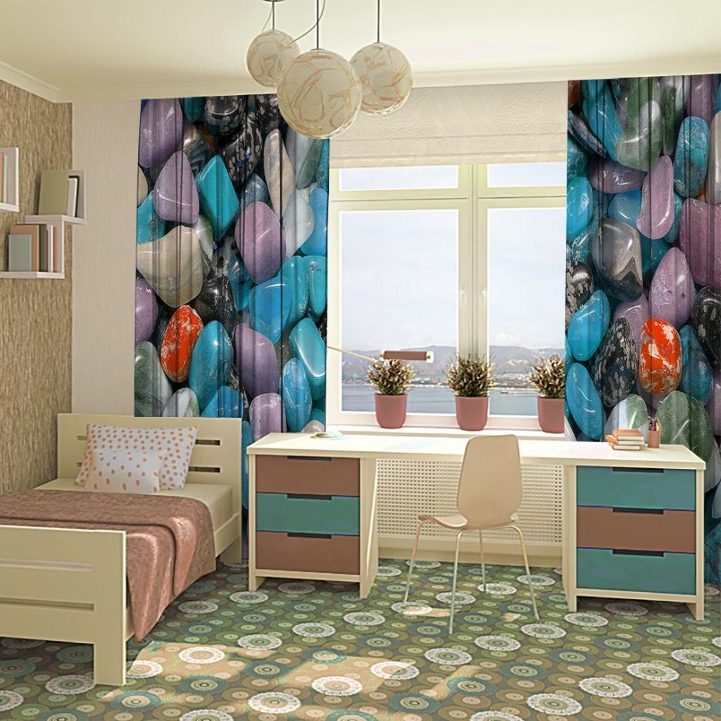 baskılı fon perde mavi ve mor renk etkili çakıl taş desenli
