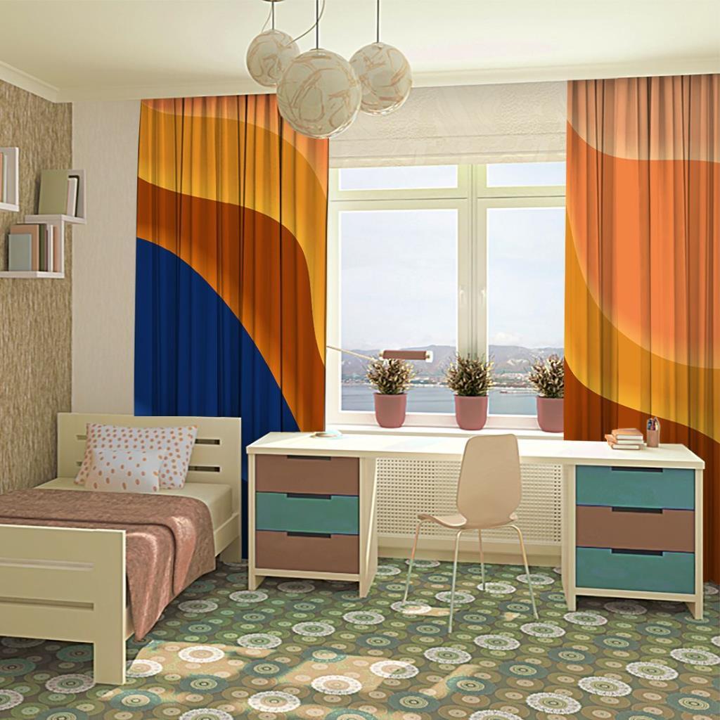 baskılı fon perde mavi ve turuncu renk etkili mozaik desenli