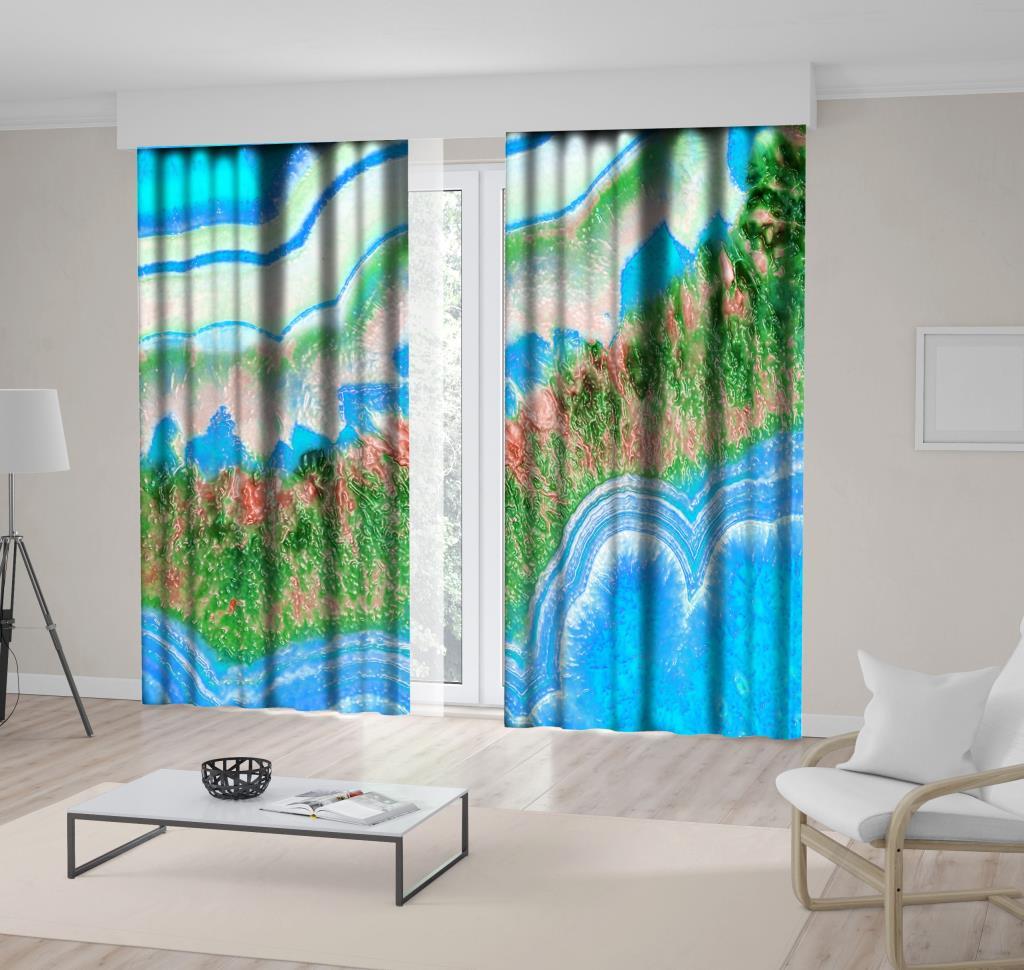 baskılı fon perde mavi ve yeşil etkili mozaik desenli