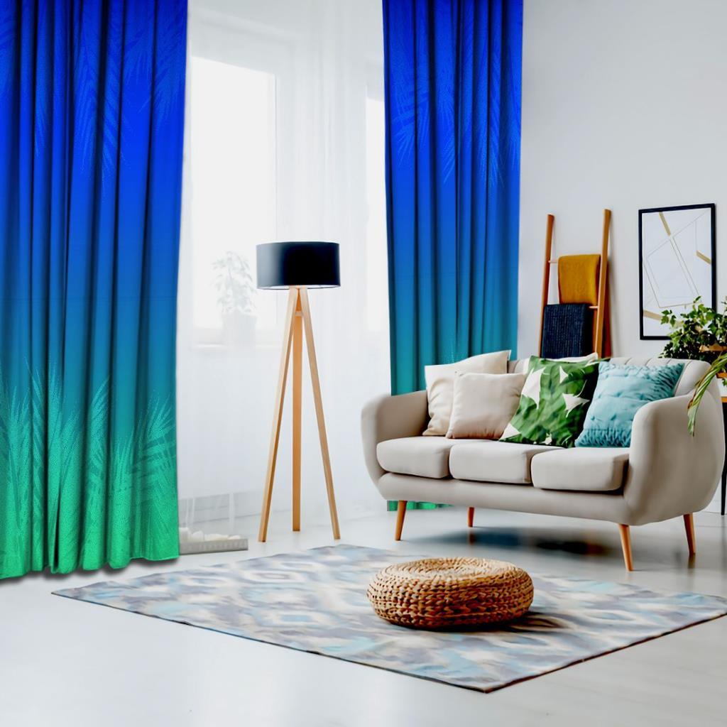 baskılı fon perde mavi ve yeşil etkili palmiye yaprak desenli
