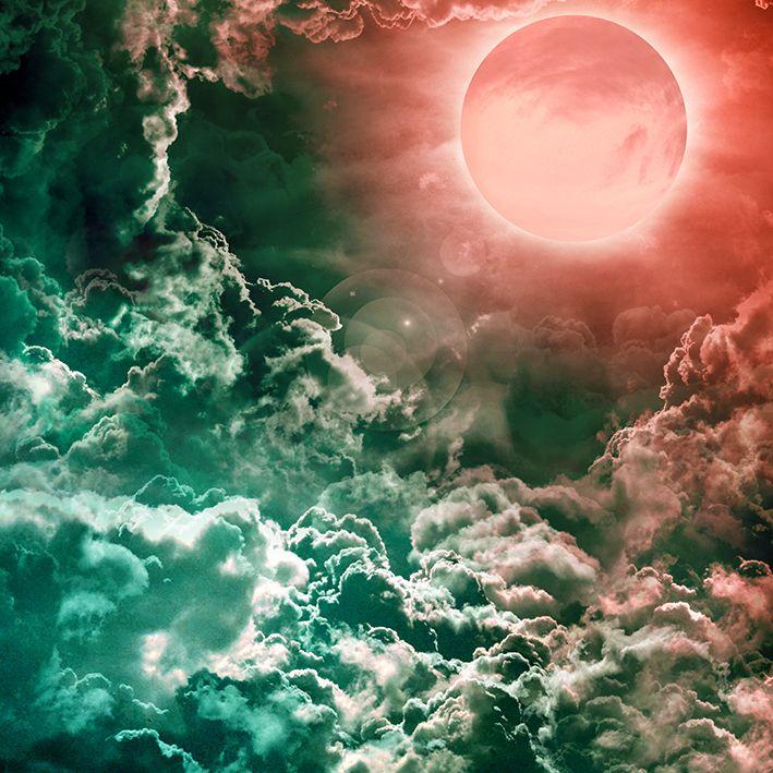baskılı fon perde mavi yoğun bulut kırmızı ay desenli