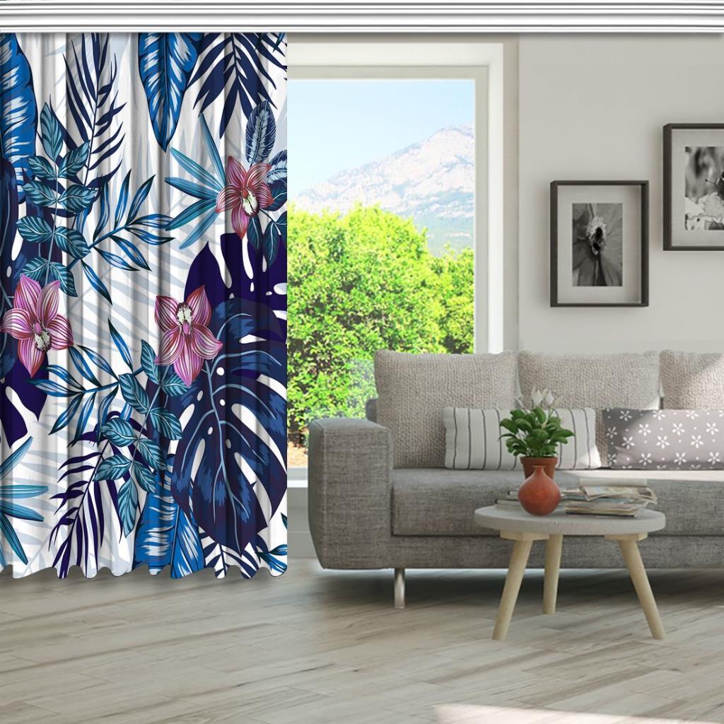 baskılı fon perde mavilerden büyüyen palmiye yapraklar desenli