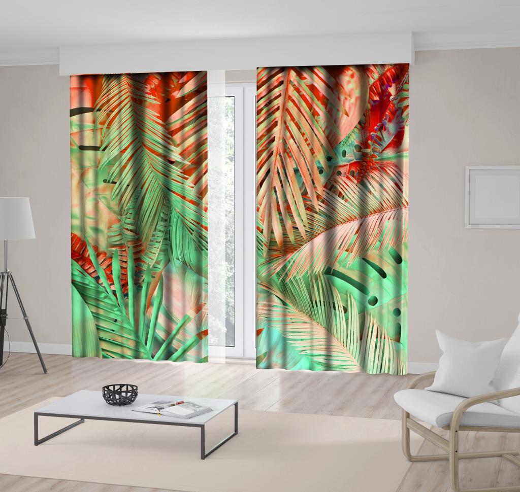 baskılı fon perde minimal etkili tropikal palmiye yaprak desenli