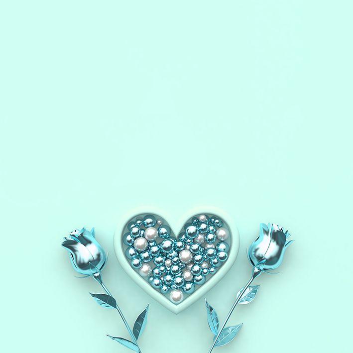 baskılı fon perde mint renkli boncuklu kalp paketli ve gül desenli
