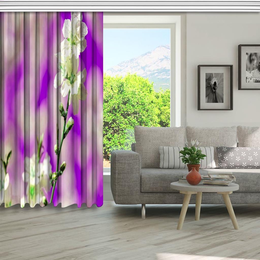 baskılı fon perde mor arka plan beyaz dallı çiçek desenli