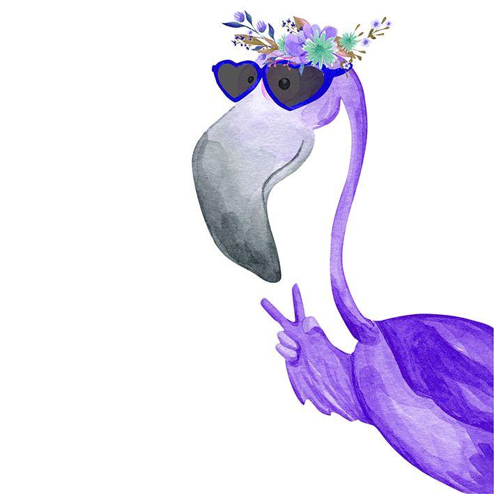 baskılı fon perde mor gözlüklü flamingo etkili renkli yaprak desenli