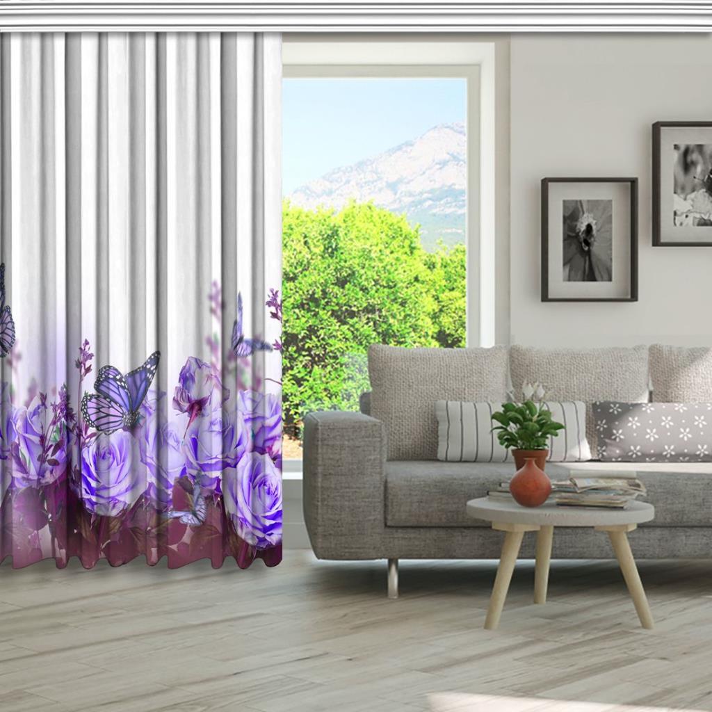 baskılı fon perde mor gül ve kelebek etkili bahar çiçeği desenli