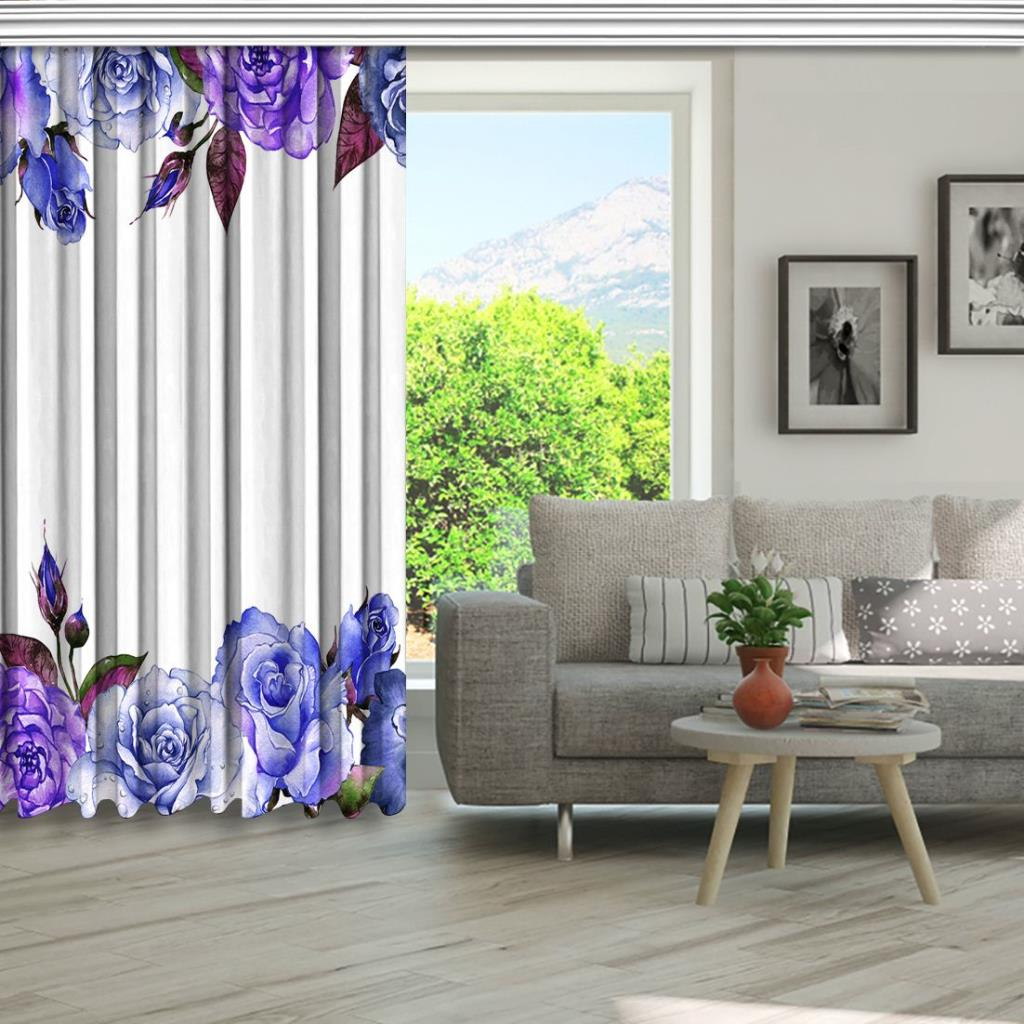 baskılı fon perde mor gül ve pembe yaprak etkili beyaz arka plan desenli